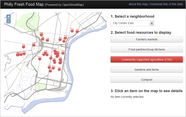 Screen Capture: Philly Fresh Food Map