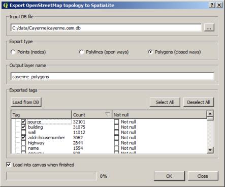 Export OpenStreetMap topology dialog box
