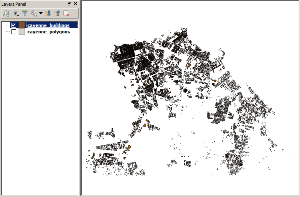 Final view of Cayenne buildings in QGIS