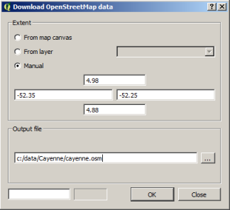 Download OpenStreetMap data dialog box in QGIS