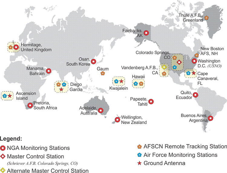 Map showing the control stations around the world.