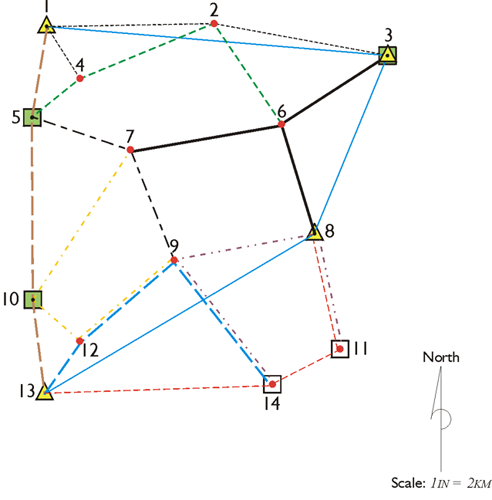 Example of a GPS Control Network, a complex web of lines and points