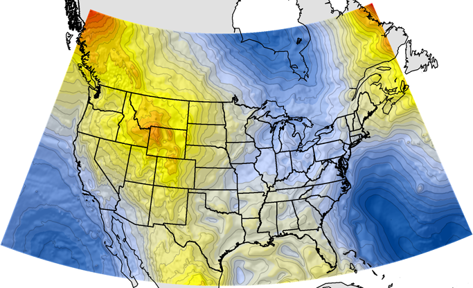 Map showing GEOID12A, United States