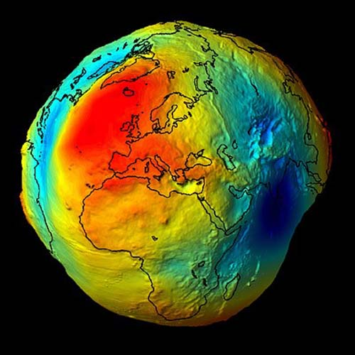 Image showing the variation of the direction of gravity on the globe (the globe is centered on Mediterranean Sea)