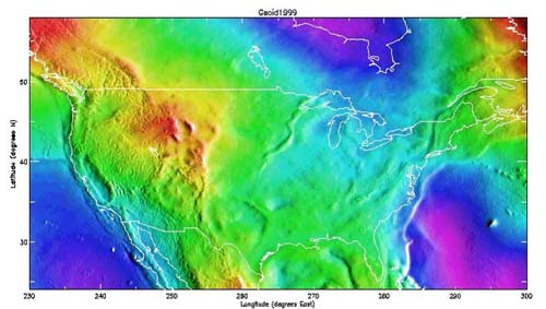 Image showing the variation of the direction of gravity in the coterminous United States