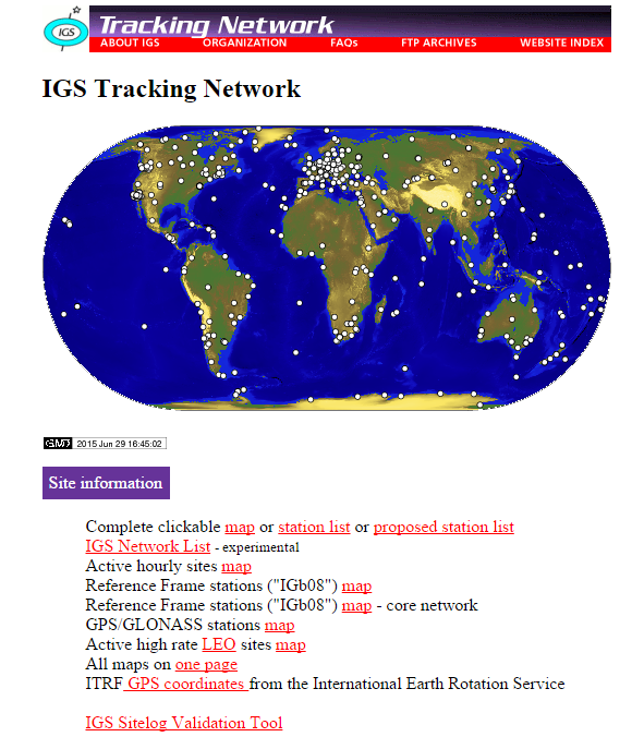IGS Tracking Network website