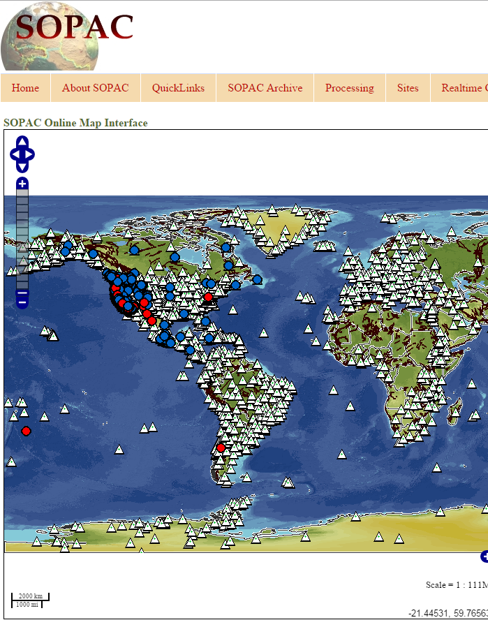 Scripps Orbit and Permanent Array Center (SOPAC) Online Map Interface