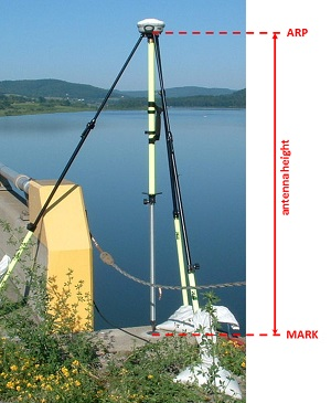 antenna photo marked to show antenna height from mark at the ground to ARP