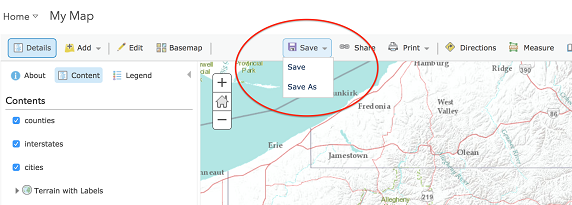 Saving a map in ArcGIS Online