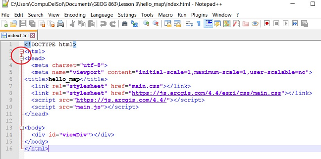 Collapsing the head section of an HTML doc in Notepad++