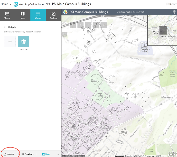 Launching an app preview in Web AppBuilder