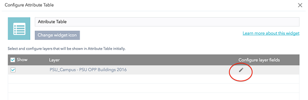 Configuring the Attribute Table widget in Web AppBuilder