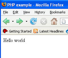 A basic PHP page in a web browser