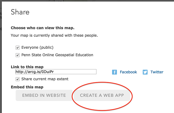 Accessing the app template options in ArcGIS Online