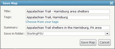 Screen capture to show the Save Map window and the fields you must fill out for saving your ArcGIS.com map