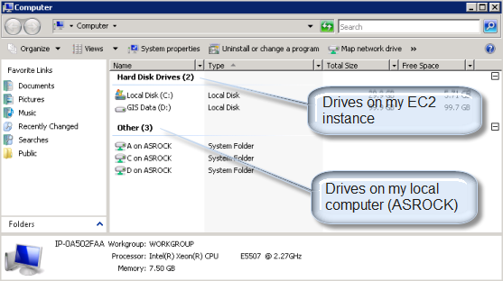 Screen capture to show Drives available to EC2 instance