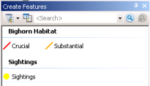 Screen capture of the Create Features window with habitat and sightings template