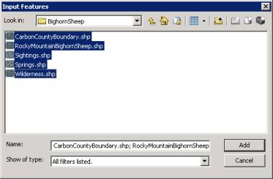 Screen shot. Selection of Shape Files.