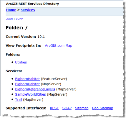 Screen capture of the Services Directory after publishing habitat and reference layer services