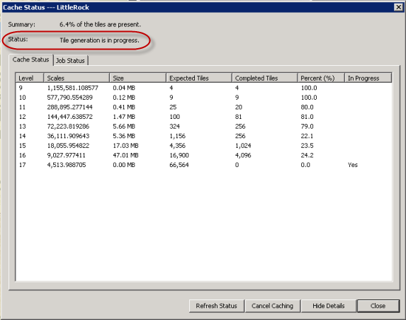Screen capture to show the Preview window and a Cache status report.