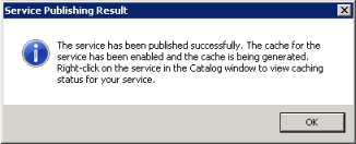 Screen capture to show the tile creation message in the Service Publishing Result window.