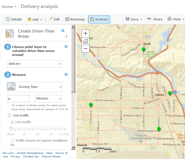 Creating drive time areas in ArcGIS Online