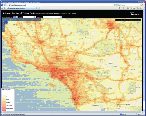 Screen capture of Microsoft Hotmap covering southern Californiaat a mid-range scale level.