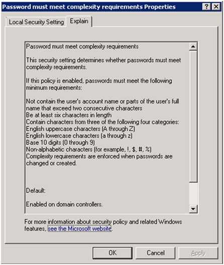 Screen capture of the Password Security Settings box with password rules.