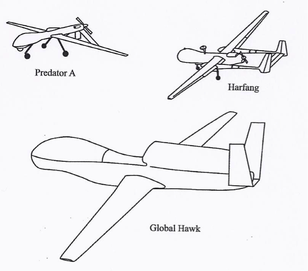 examples of large UAVs: Predator A, Harfang, Global Hawk