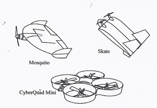 3 examples of very small UAVs: Mosquito, Skate, and CyberQuad mini.