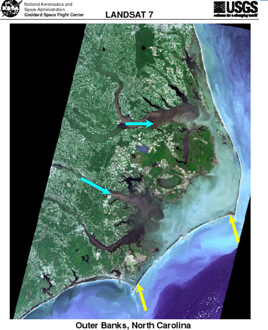 Satellite image of North Carolina, showing streams that deliver sand and barrier islands made from that sand.