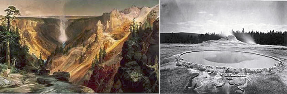 Painting by Thomas Moran (left), and photograph by William Henry Jackson (right).