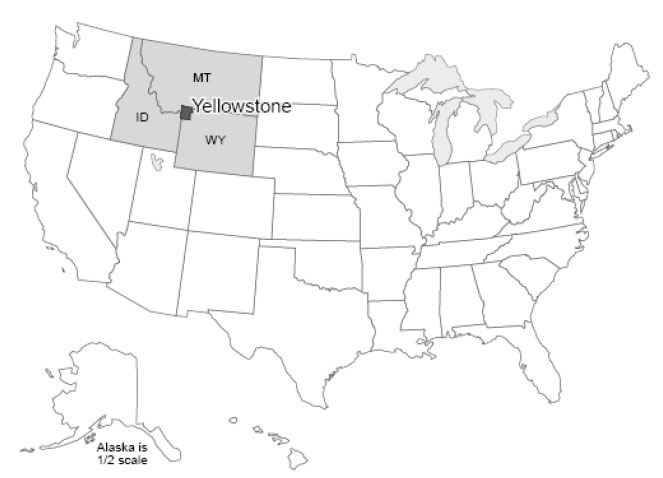 map of the US with Idaho, Montana, and Wyoming highlighted and Yellowstone National Park noted along the borders.