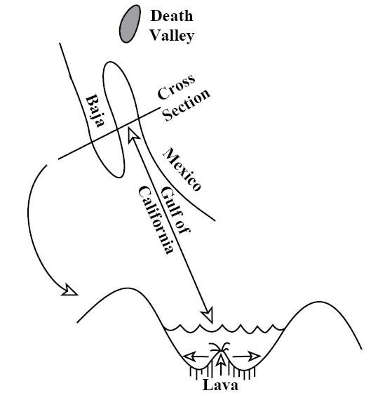 Pull-apart fault in the Gulf of California.  The diagram is described thoroughly in the text.