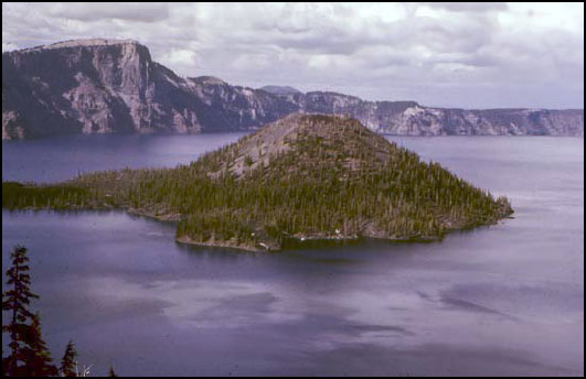 Picture of Wizard Island, within the huge Crater Lake