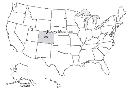 Map of US with Rocky Mountain National Park, Colorado highlighted.