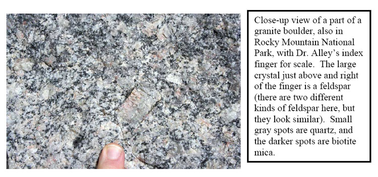 Close-up view of a part of a granite boulder.