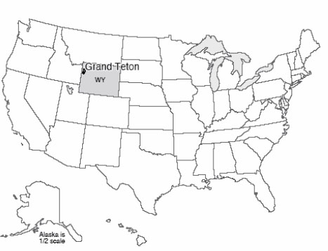 map of us with grand teton national park wyoming highlighted