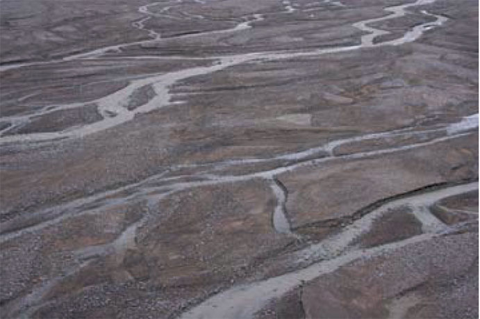 Braided stream, Kjove Land, Greenland.
