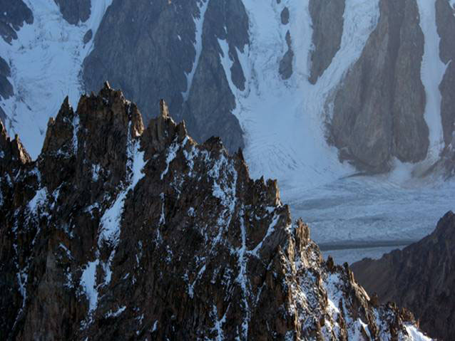 Arête (a knife-edge ridge left when two glaciers erode into a highland, one from each side)