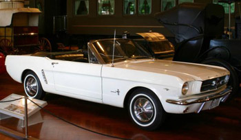 A classic Ford Mustang convertible.