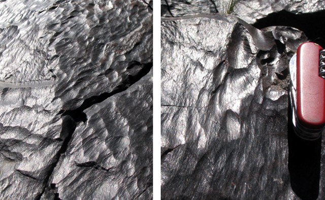 close up of metamorphosed rocks abraded and polished by the Colorado River, Bright Angel Trail.