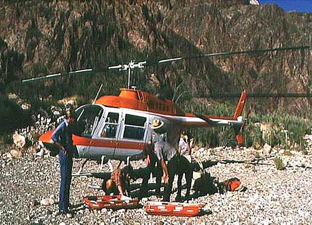 rescue helicopter at the bottom of the grand canyon.