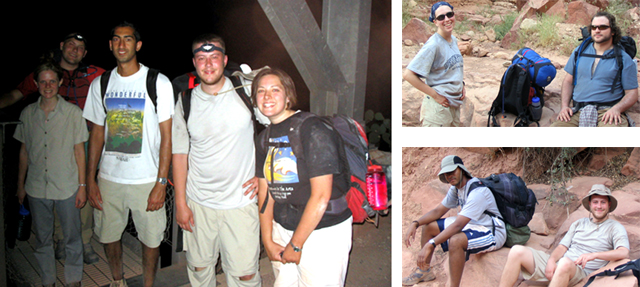 Three pictures of students at Silver Bridge, bottom of the Grand Canyon.