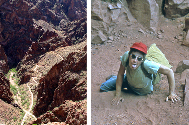 Two pictures.  1.  Looking down onto the South Bright Angel Trail.  2.  A student climbing up a steep part of the trail.