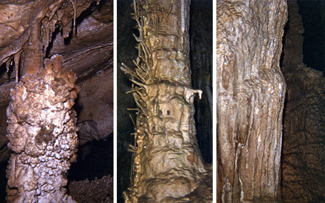 Three pictures of cave formations, Lehman Cave.  1. Popcorn on column 2. Helectites on colum 3. flowstone