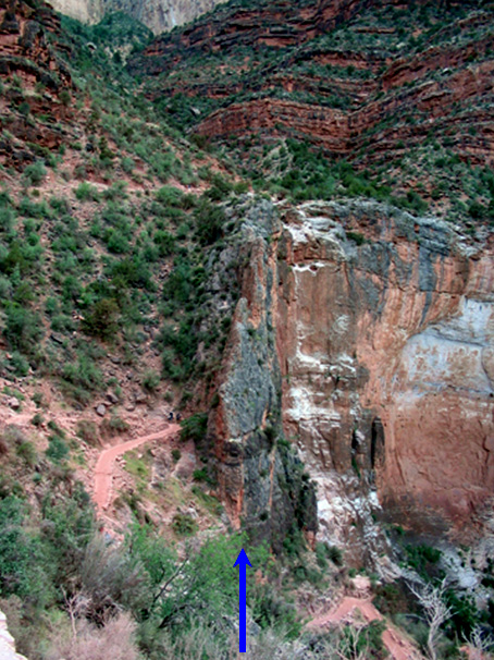 Pulverized rocks of a vertical fault zone where the S. Bright Angel Trail crosses the Bright Angel Fault.