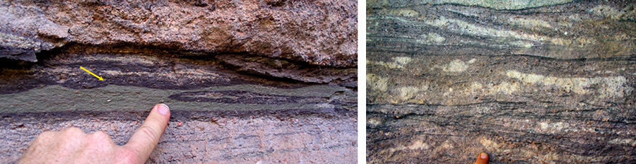 Sedimentary layers in the Tapeats Sandstone show cross bedding and ripple marks.