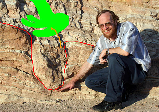 Edge-on dinosaur track.  May need more explanation from Richard