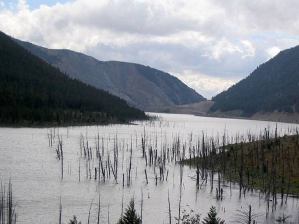 Earthquake Lake formed when the landslide dammed the Madison River